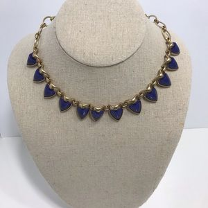 Stella dot brushed gold& blue reversible necklace
